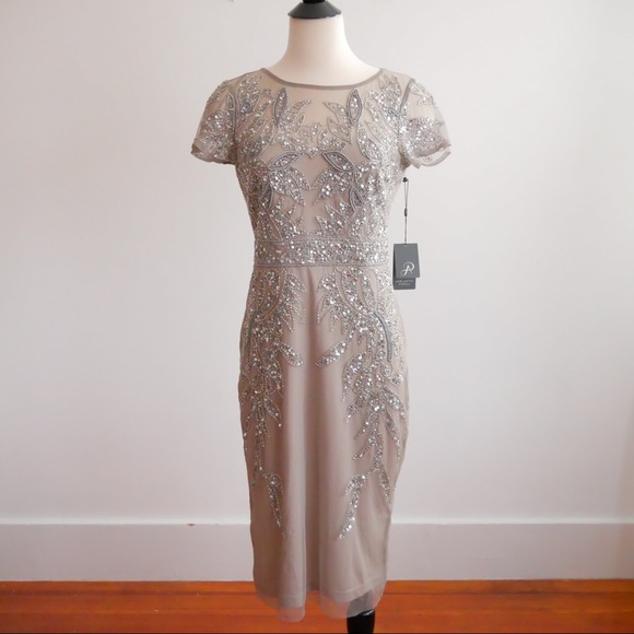 8aa6b1e09fd Adrianna Papell Beaded Cocktail Sheath Dress NWT